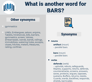 bars, synonym bars, another word for bars, words like bars, thesaurus bars