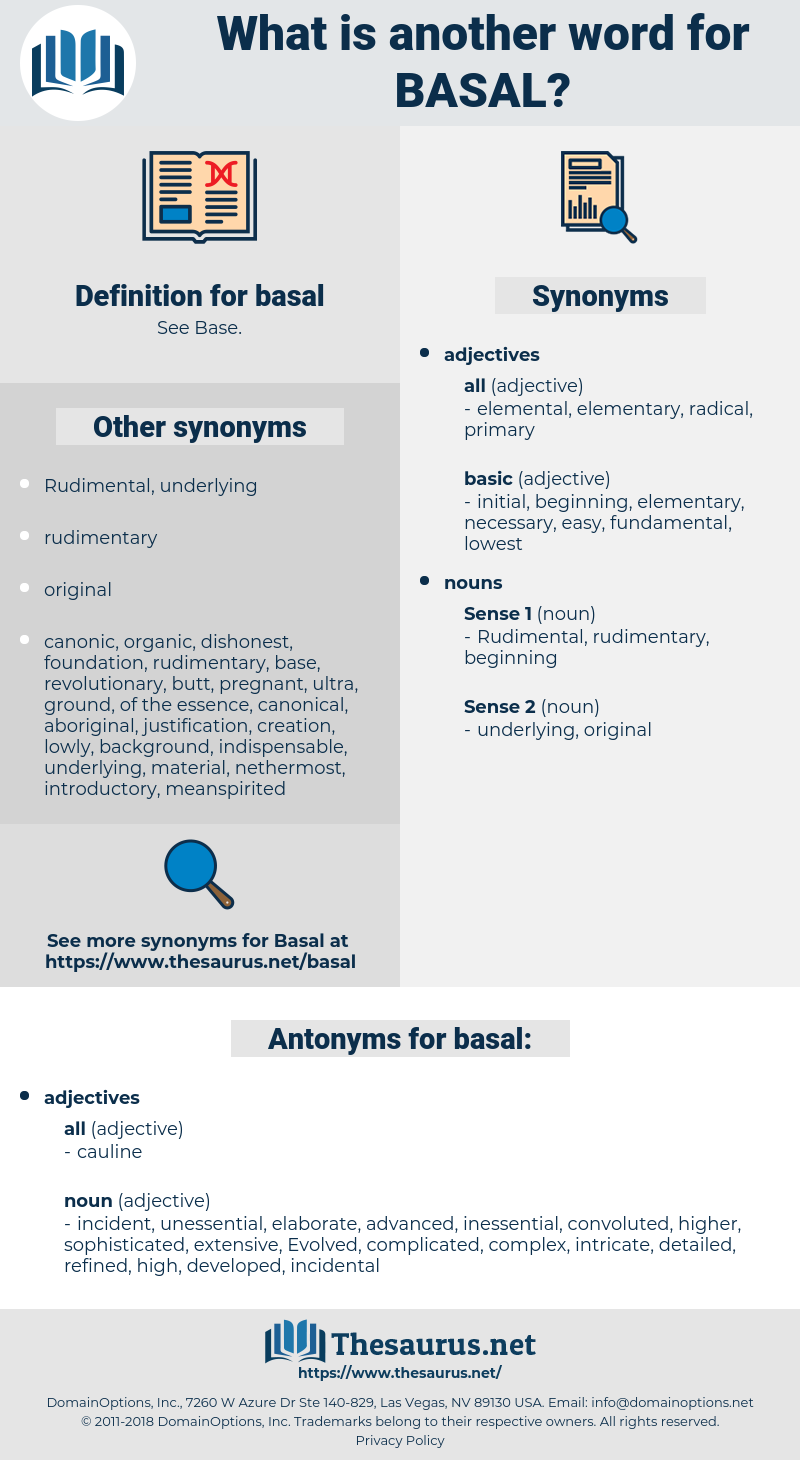 basal, synonym basal, another word for basal, words like basal, thesaurus basal