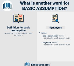 basic assumption, synonym basic assumption, another word for basic assumption, words like basic assumption, thesaurus basic assumption