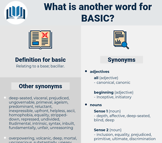 basic, synonym basic, another word for basic, words like basic, thesaurus basic