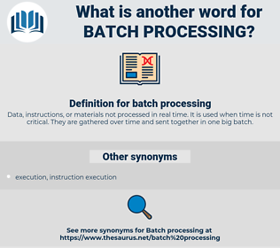 batch processing, synonym batch processing, another word for batch processing, words like batch processing, thesaurus batch processing