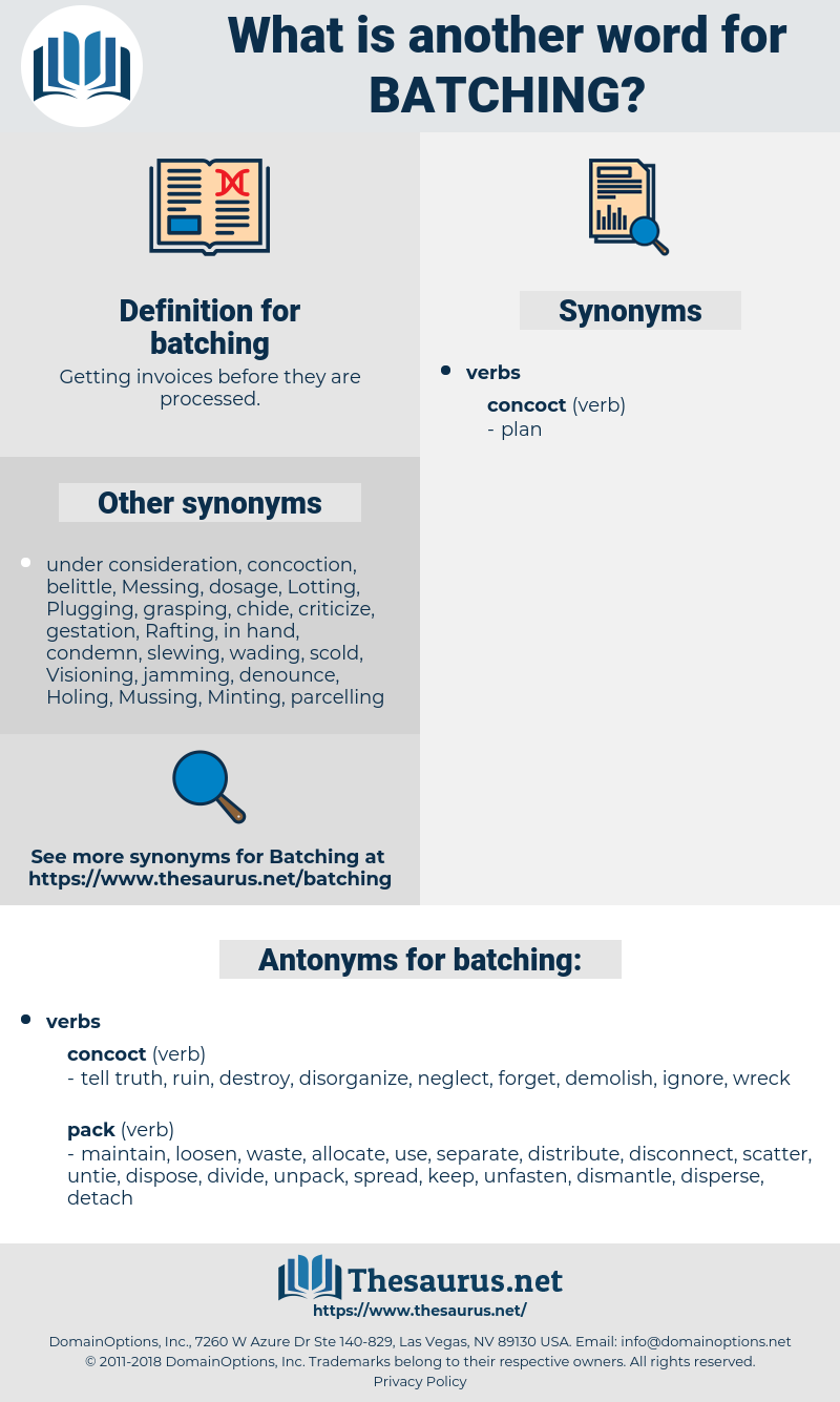 batching, synonym batching, another word for batching, words like batching, thesaurus batching