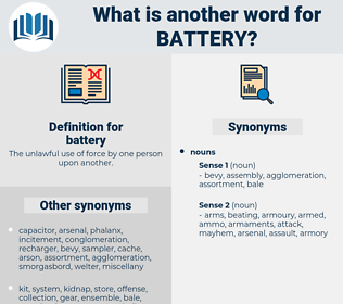 battery, synonym battery, another word for battery, words like battery, thesaurus battery