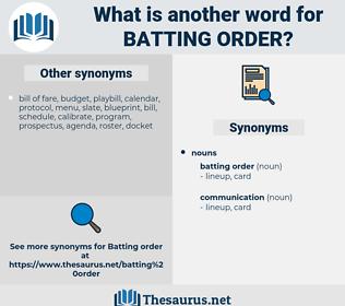 batting order, synonym batting order, another word for batting order, words like batting order, thesaurus batting order