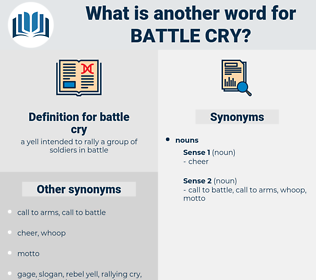 battle cry, synonym battle cry, another word for battle cry, words like battle cry, thesaurus battle cry
