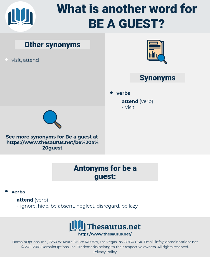 be a guest, synonym be a guest, another word for be a guest, words like be a guest, thesaurus be a guest