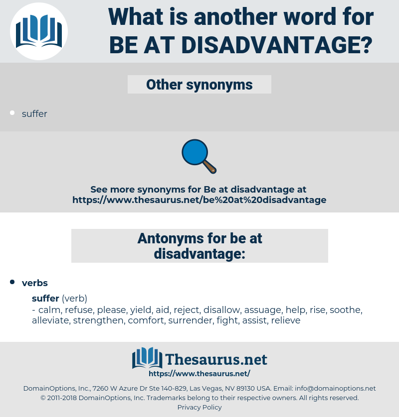 be at disadvantage, synonym be at disadvantage, another word for be at disadvantage, words like be at disadvantage, thesaurus be at disadvantage