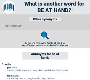 be at hand, synonym be at hand, another word for be at hand, words like be at hand, thesaurus be at hand