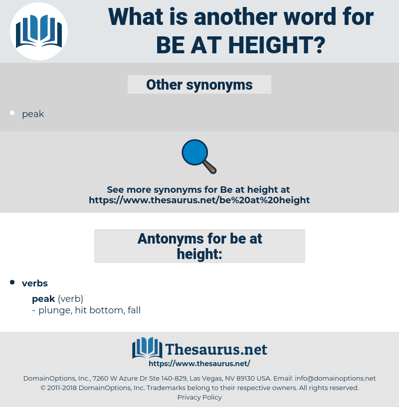 be at height, synonym be at height, another word for be at height, words like be at height, thesaurus be at height