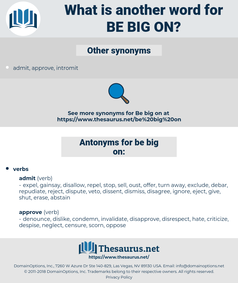 be big on, synonym be big on, another word for be big on, words like be big on, thesaurus be big on