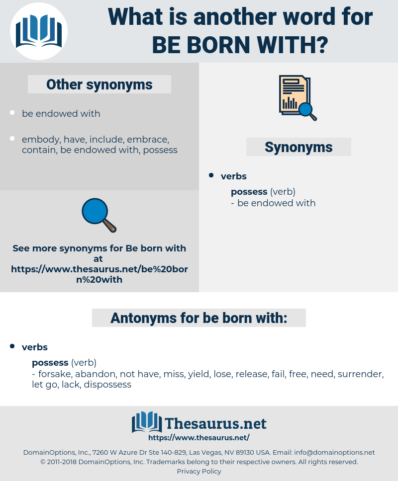 be born with, synonym be born with, another word for be born with, words like be born with, thesaurus be born with