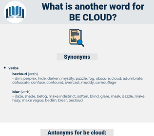 be cloud, synonym be cloud, another word for be cloud, words like be cloud, thesaurus be cloud