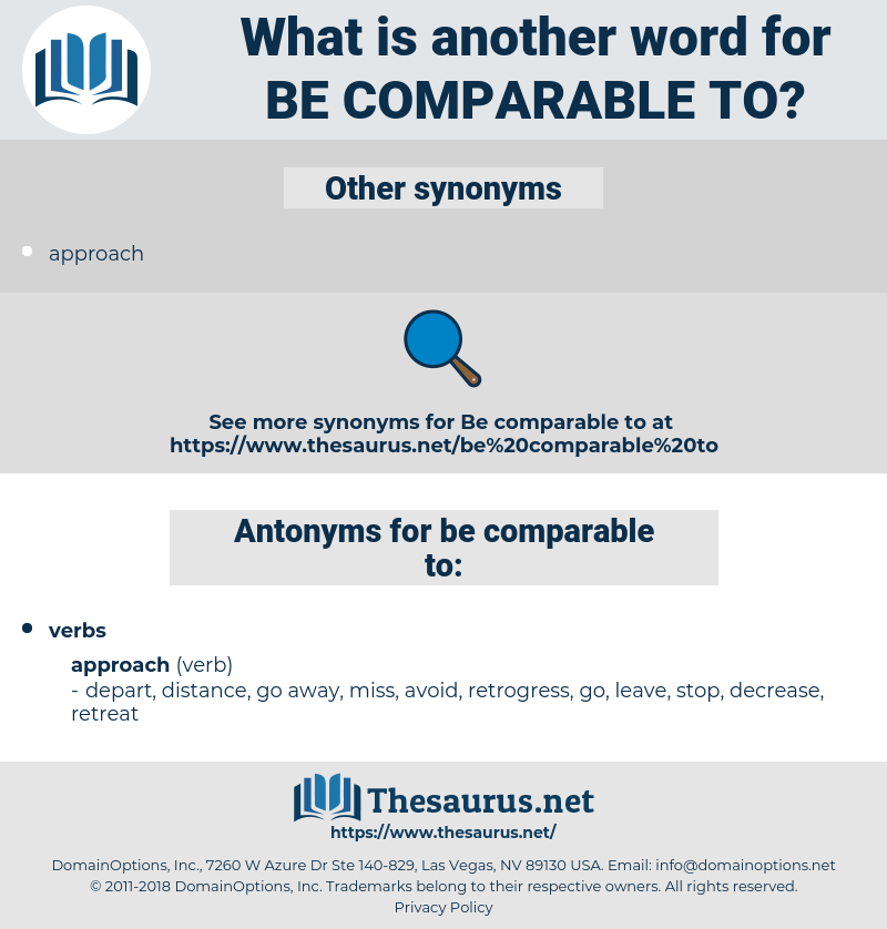 be comparable to, synonym be comparable to, another word for be comparable to, words like be comparable to, thesaurus be comparable to