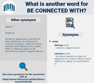 be connected with, synonym be connected with, another word for be connected with, words like be connected with, thesaurus be connected with