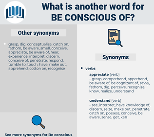 be conscious of, synonym be conscious of, another word for be conscious of, words like be conscious of, thesaurus be conscious of