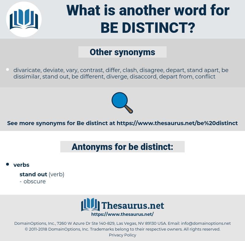 be distinct, synonym be distinct, another word for be distinct, words like be distinct, thesaurus be distinct