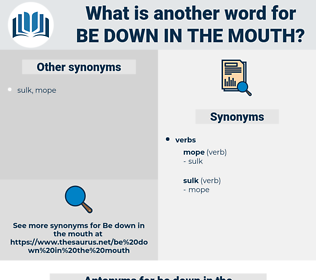 be down in the mouth, synonym be down in the mouth, another word for be down in the mouth, words like be down in the mouth, thesaurus be down in the mouth