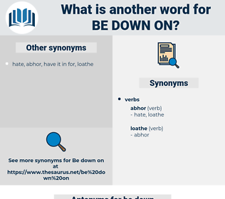 be down on, synonym be down on, another word for be down on, words like be down on, thesaurus be down on