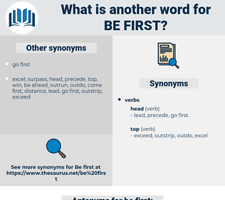 be first, synonym be first, another word for be first, words like be first, thesaurus be first