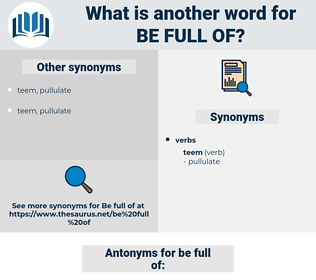 be full of, synonym be full of, another word for be full of, words like be full of, thesaurus be full of
