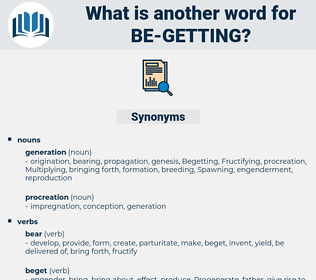 be getting, synonym be getting, another word for be getting, words like be getting, thesaurus be getting