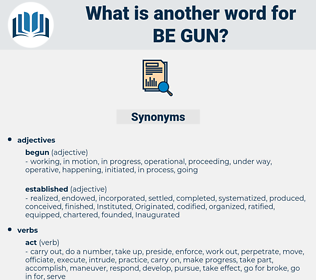 be gun, synonym be gun, another word for be gun, words like be gun, thesaurus be gun