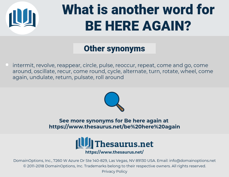 be here again, synonym be here again, another word for be here again, words like be here again, thesaurus be here again