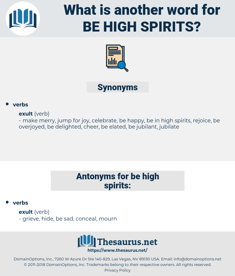 be high spirits, synonym be high spirits, another word for be high spirits, words like be high spirits, thesaurus be high spirits