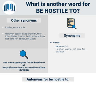 be hostile to, synonym be hostile to, another word for be hostile to, words like be hostile to, thesaurus be hostile to