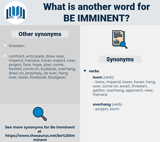 be imminent, synonym be imminent, another word for be imminent, words like be imminent, thesaurus be imminent