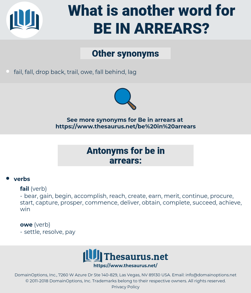 be in arrears, synonym be in arrears, another word for be in arrears, words like be in arrears, thesaurus be in arrears