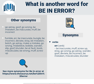 be in error, synonym be in error, another word for be in error, words like be in error, thesaurus be in error
