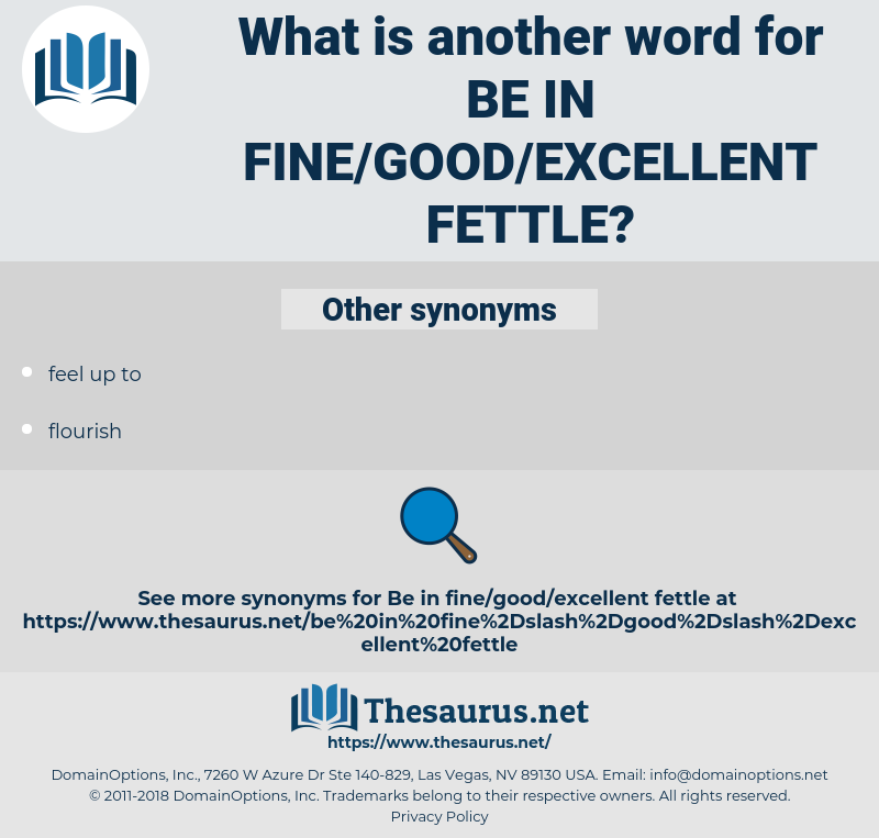be in fine/good/excellent fettle, synonym be in fine/good/excellent fettle, another word for be in fine/good/excellent fettle, words like be in fine/good/excellent fettle, thesaurus be in fine/good/excellent fettle