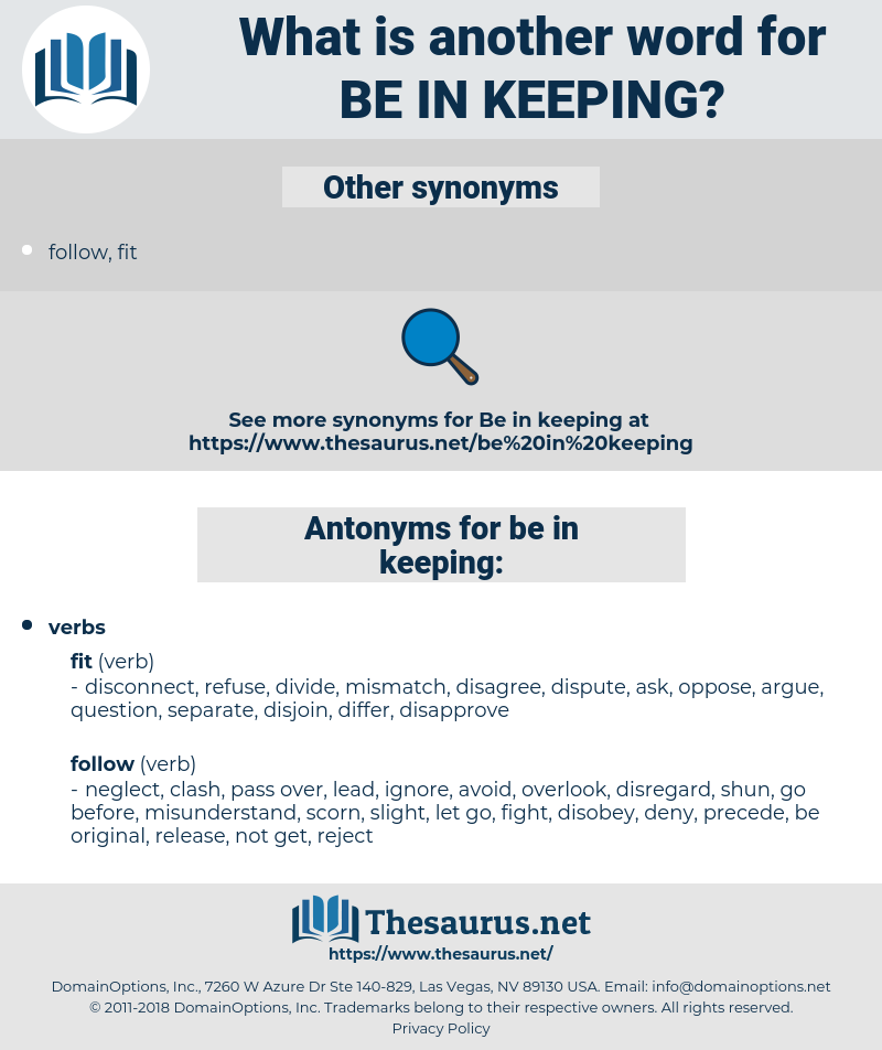 be in keeping, synonym be in keeping, another word for be in keeping, words like be in keeping, thesaurus be in keeping