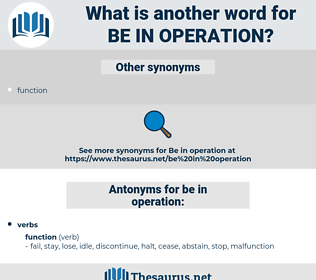 be in operation, synonym be in operation, another word for be in operation, words like be in operation, thesaurus be in operation