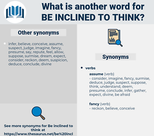be inclined to think, synonym be inclined to think, another word for be inclined to think, words like be inclined to think, thesaurus be inclined to think