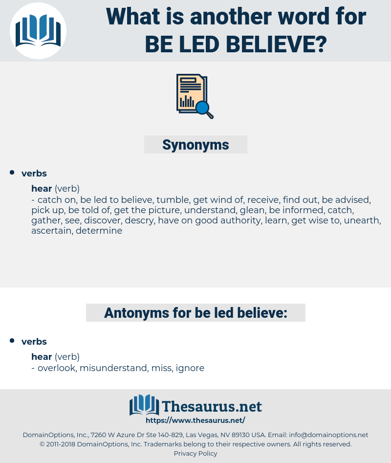 be led believe, synonym be led believe, another word for be led believe, words like be led believe, thesaurus be led believe
