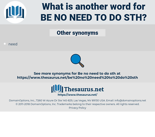 be no need to do sth, synonym be no need to do sth, another word for be no need to do sth, words like be no need to do sth, thesaurus be no need to do sth