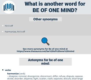be of one mind, synonym be of one mind, another word for be of one mind, words like be of one mind, thesaurus be of one mind
