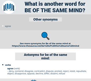 be of the same mind, synonym be of the same mind, another word for be of the same mind, words like be of the same mind, thesaurus be of the same mind