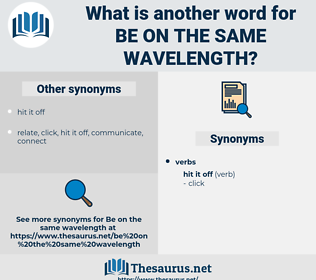 be on the same wavelength, synonym be on the same wavelength, another word for be on the same wavelength, words like be on the same wavelength, thesaurus be on the same wavelength