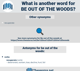 be out of the woods, synonym be out of the woods, another word for be out of the woods, words like be out of the woods, thesaurus be out of the woods