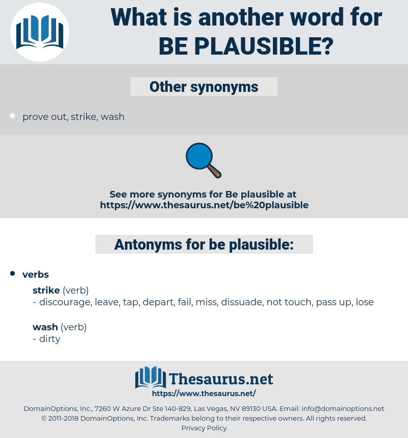 be plausible, synonym be plausible, another word for be plausible, words like be plausible, thesaurus be plausible