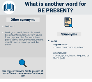 be present, synonym be present, another word for be present, words like be present, thesaurus be present