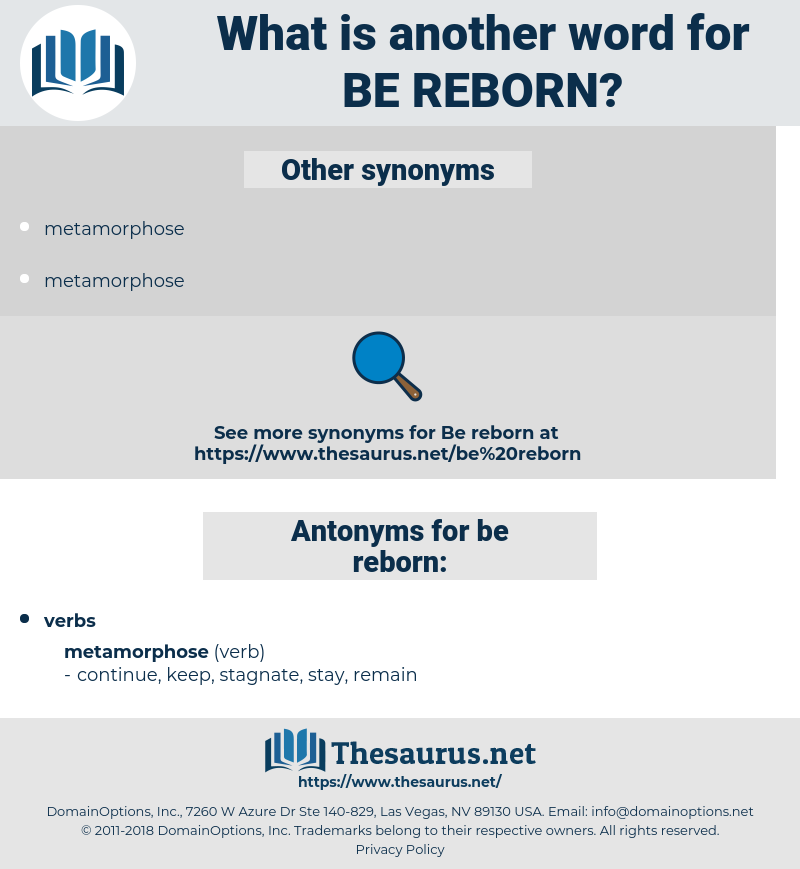 be reborn, synonym be reborn, another word for be reborn, words like be reborn, thesaurus be reborn
