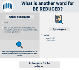be reduced, synonym be reduced, another word for be reduced, words like be reduced, thesaurus be reduced
