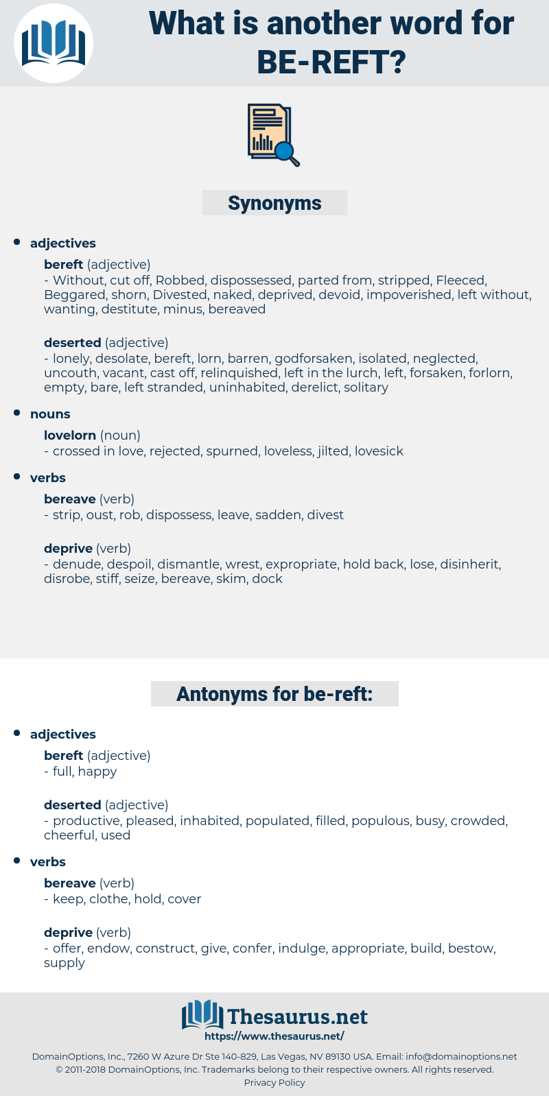 be-reft, synonym be-reft, another word for be-reft, words like be-reft, thesaurus be-reft