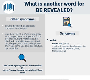be revealed, synonym be revealed, another word for be revealed, words like be revealed, thesaurus be revealed