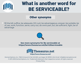 be serviceable, synonym be serviceable, another word for be serviceable, words like be serviceable, thesaurus be serviceable