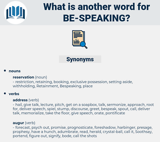 be speaking, synonym be speaking, another word for be speaking, words like be speaking, thesaurus be speaking